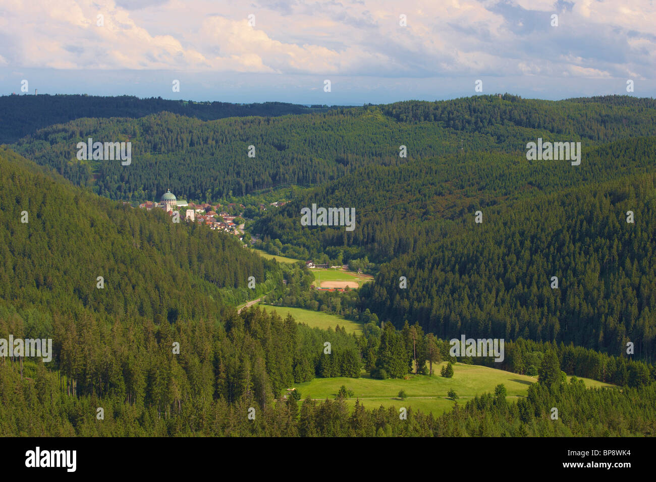 St. Blasien in valley of the river Alb, Summer day, Black Forest, Baden-Wuerttemberg, Germany, Europe - Stock Image