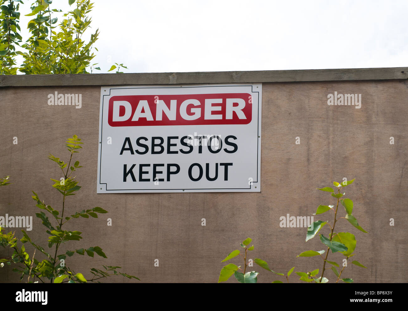 Danger Asbestos Keep Out Sign - Stock Image