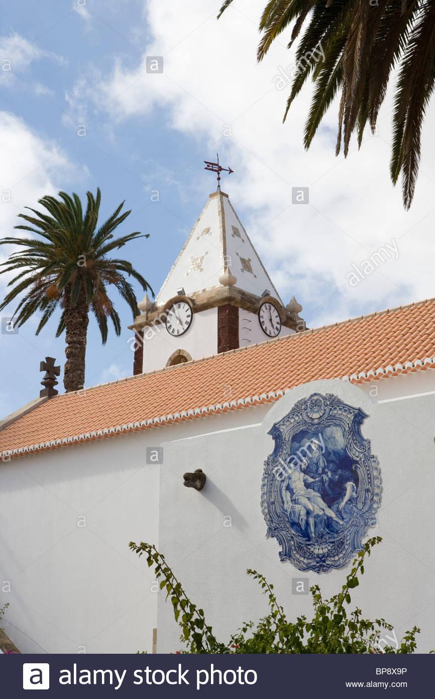 Nossa Senhora da Poedada Church, Vila Baleira, Porto Santo, near Madeira, Portugal - Stock Image