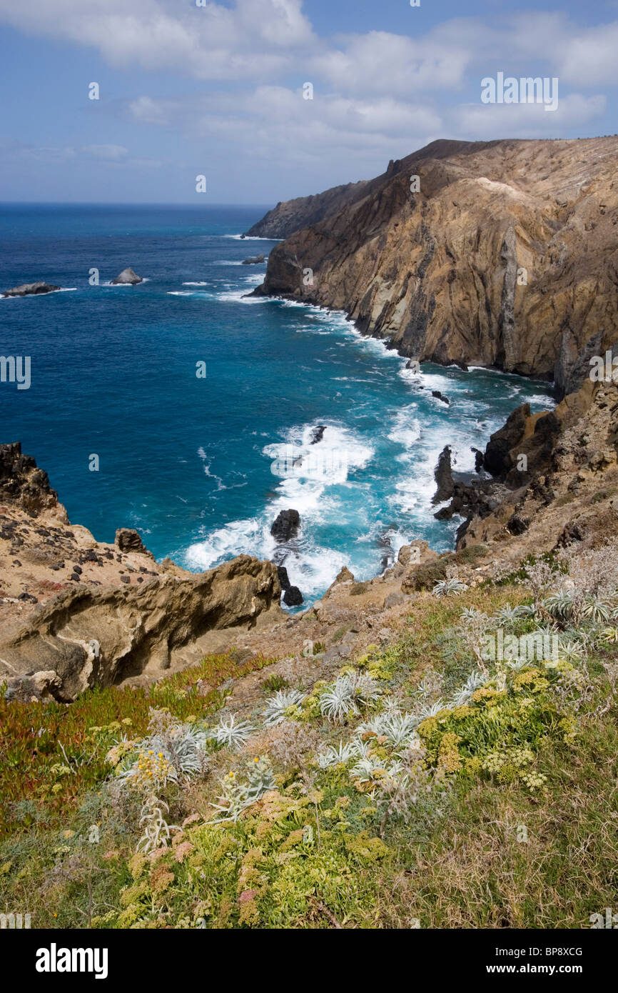 Coastal view from hole 13 at Porto Santo Golfe Golf Course, Porto Santo, near Madeira, Portugal - Stock Image