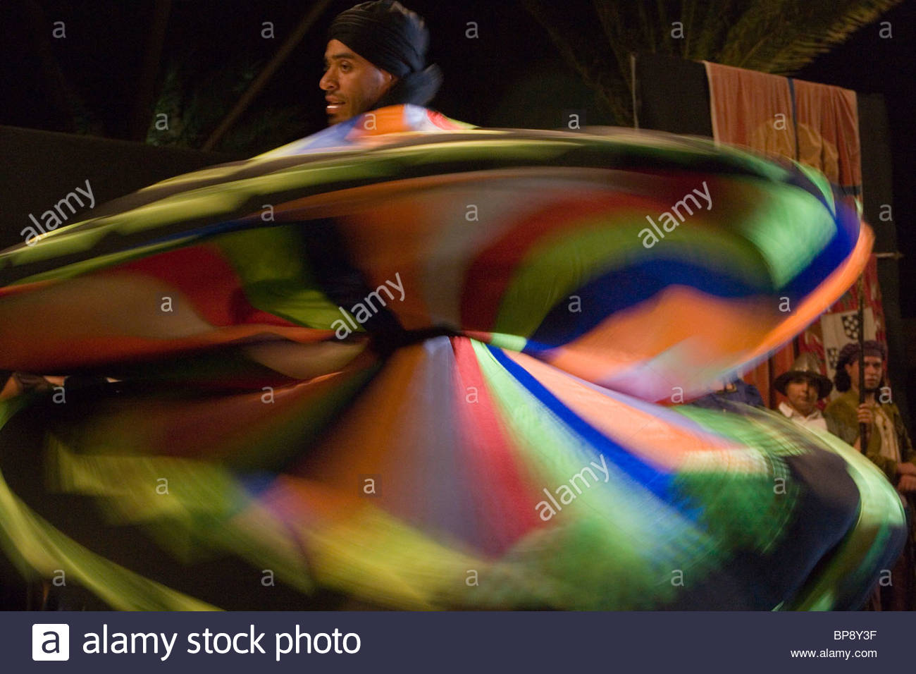 Whirling Derwish dance performance at the Columbus Festival Celebration, Vila Baleira, Porto Santo, near Madeira, - Stock Image