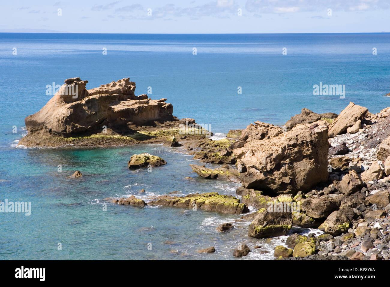 Coastline at Ponta da Gale, Porto Santo, near Madeira, Portugal - Stock Image