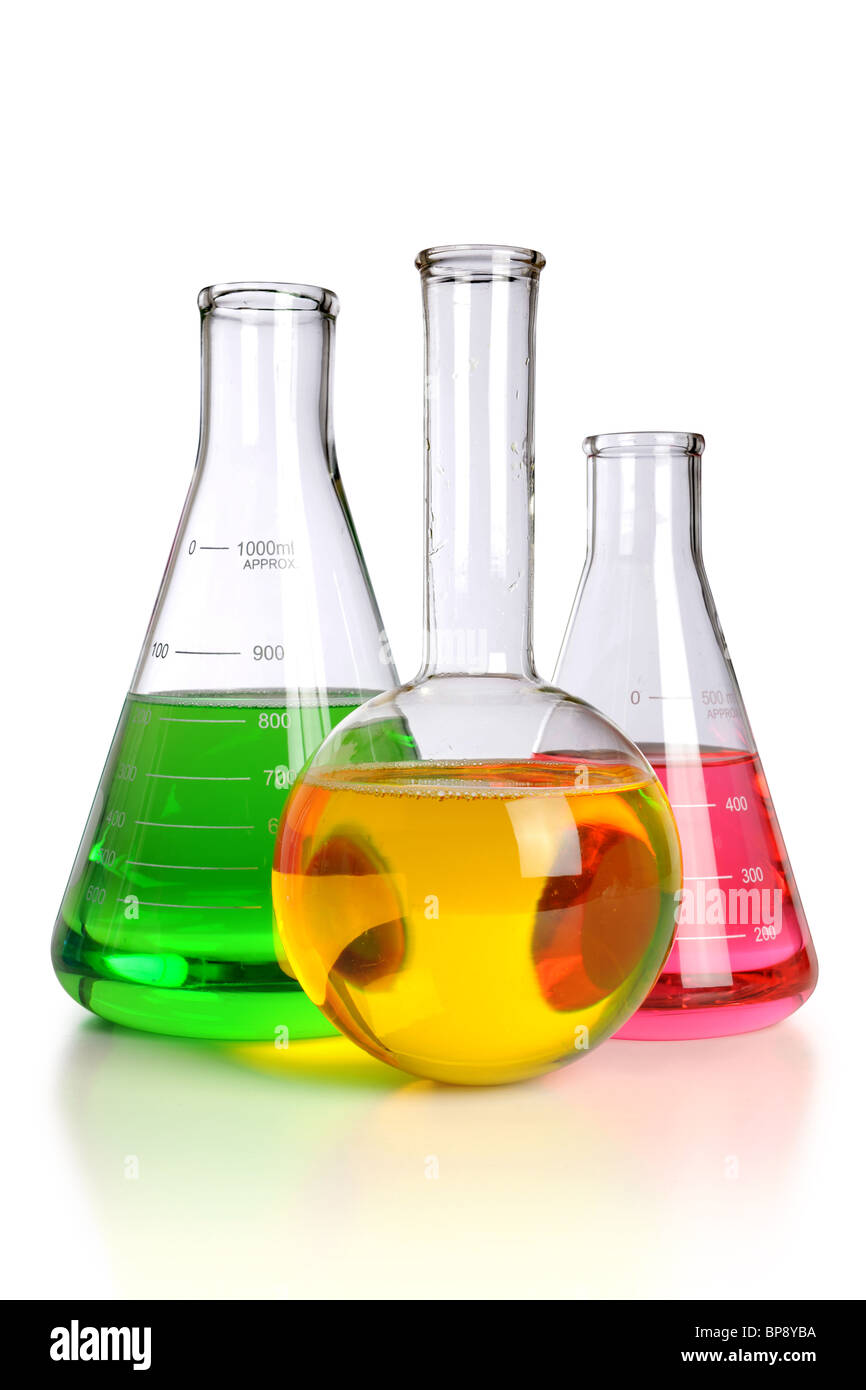 Laboratory glassware over white background - With clipping path - Stock Image
