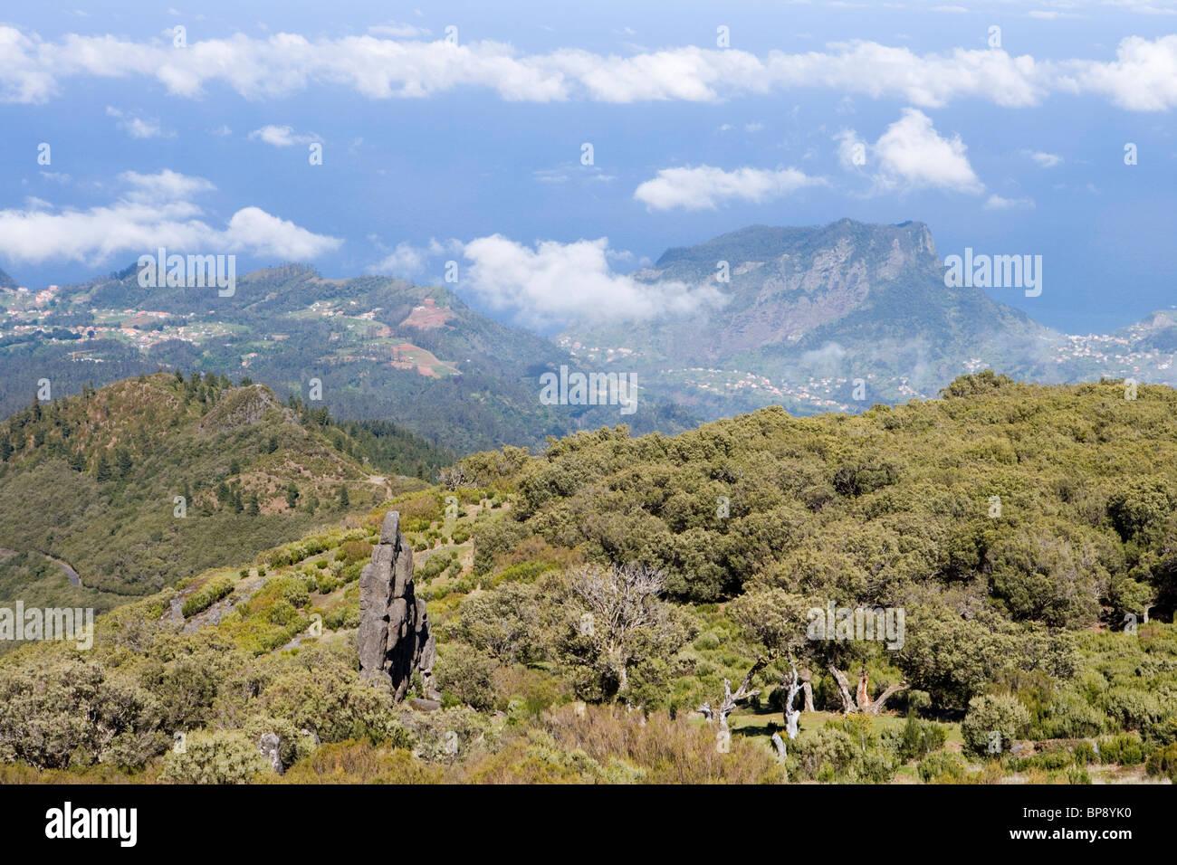 Homem em Pe (Standing Man) Rock Formation, Achada do Teixeira, Madeira, Portugal - Stock Image