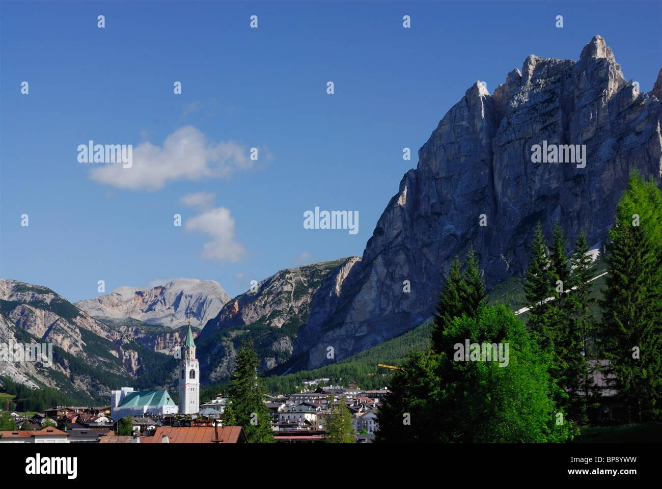 View to Cortina d' Ampezzo with Punta Fiames, Dolomites, Veneto, Italy - Stock Image
