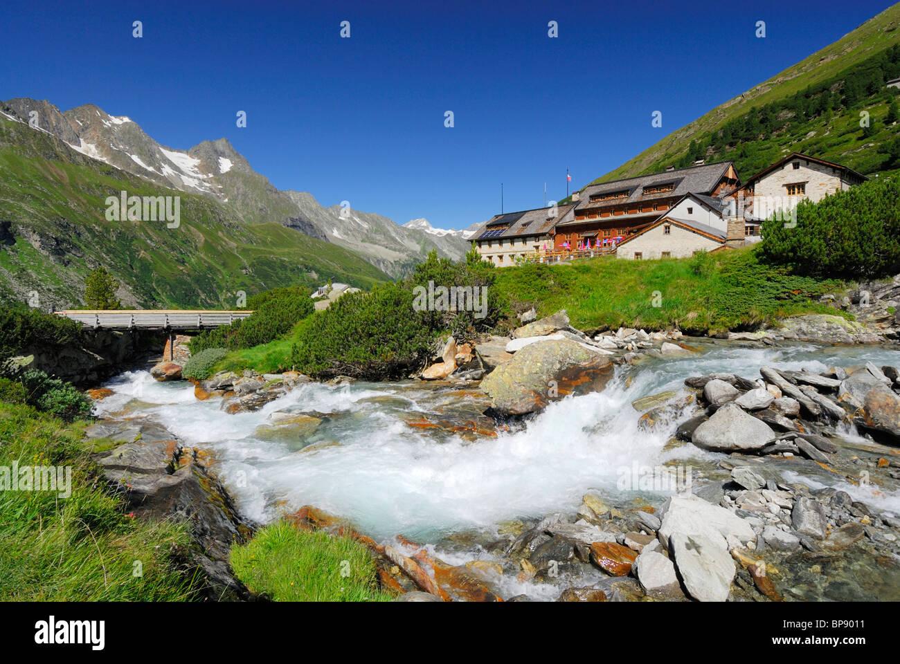 Stream Zemmbach near hut Berliner Huette, Zillertal, Zillertal Alps, Tyrol, Austria Stock Photo