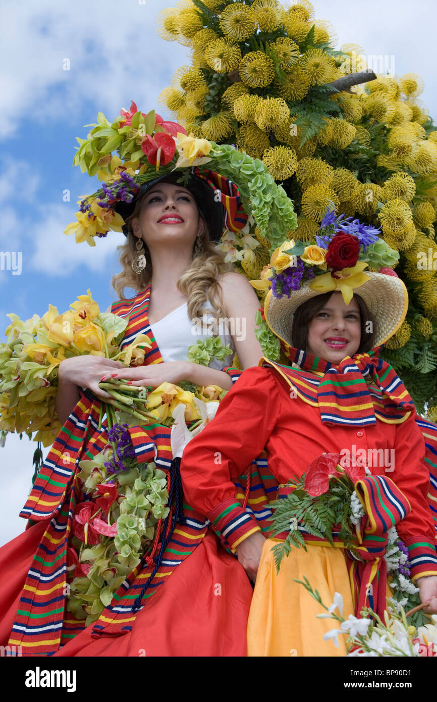 Floral Float at the Madeira Flower Festival Parade, Funchal, Madeira, Portugal - Stock Image