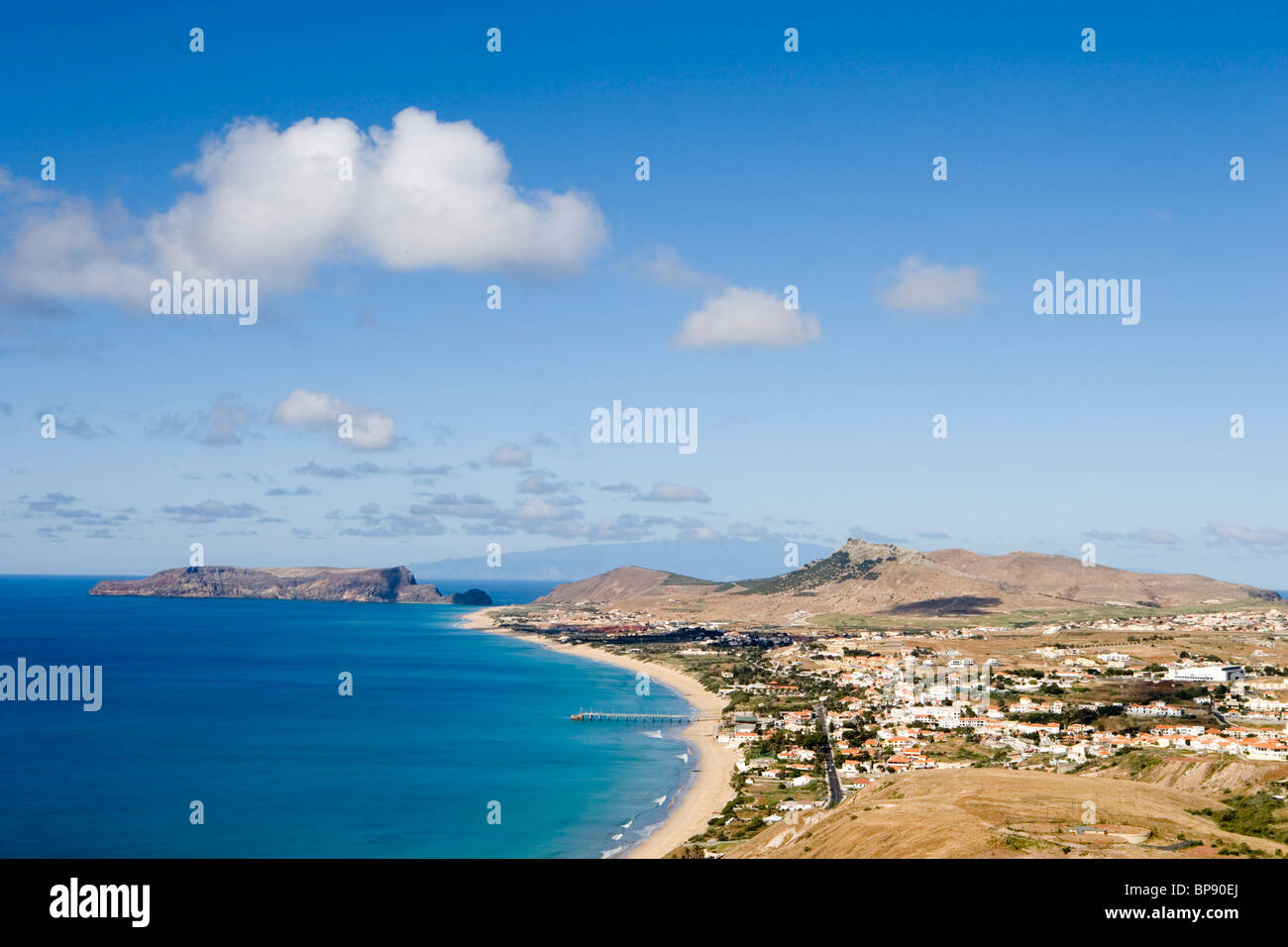 Vila Baleira and Porto Santo Beach seen from Portela, Porto Santo, near Madeira, Portugal - Stock Image