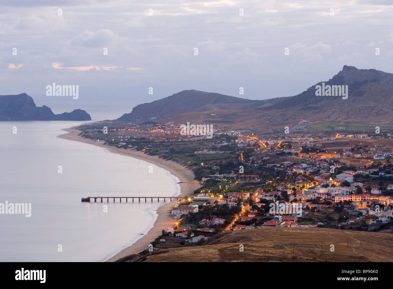 Vila Baleira at dusk seen from Portela, Porto Santo, near Madeira, Portugal - Stock Image