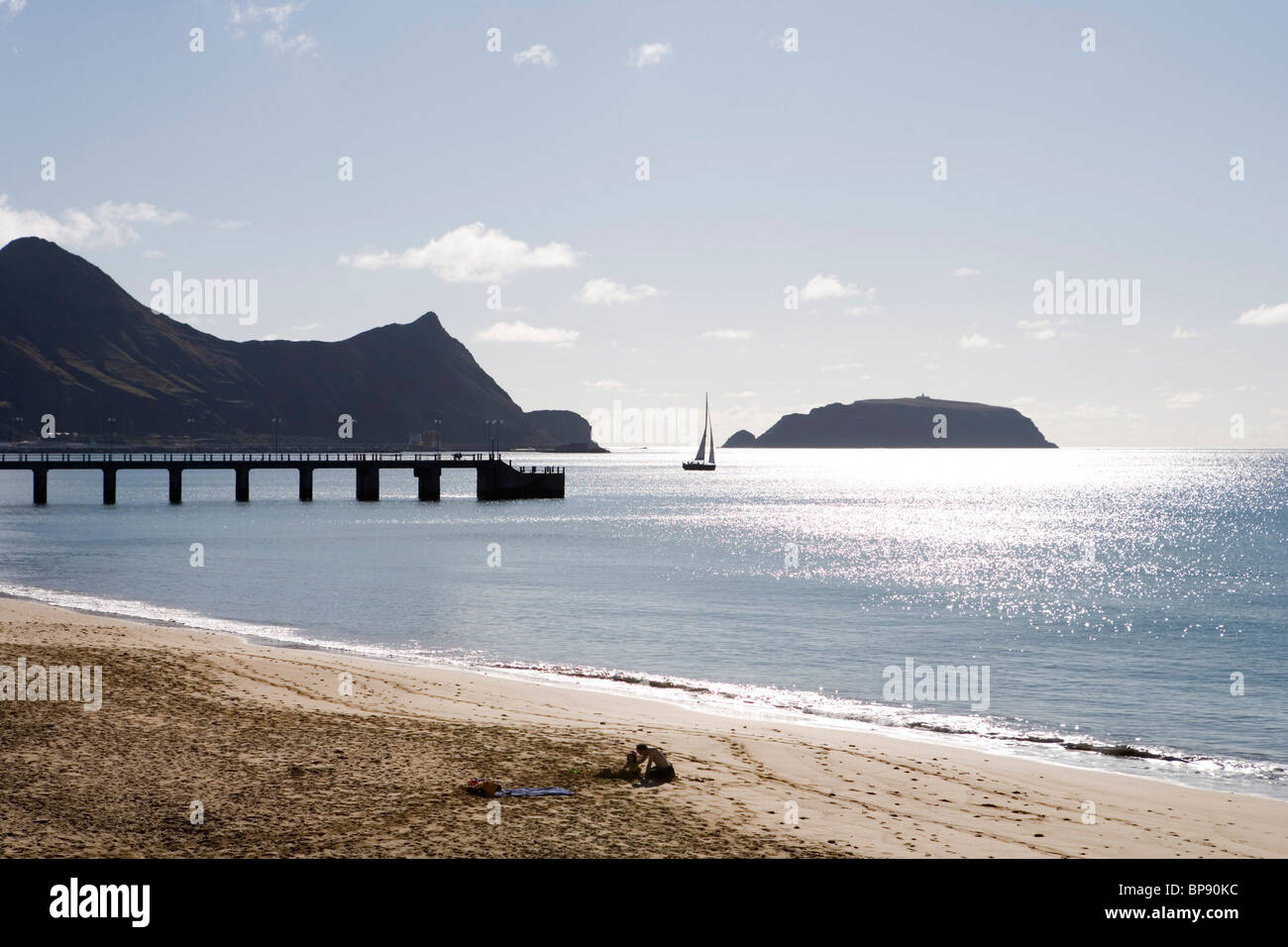 Sailboat, Pier and Porto Santo Beach, Porto Santo, near Madeira, Portugal - Stock Image