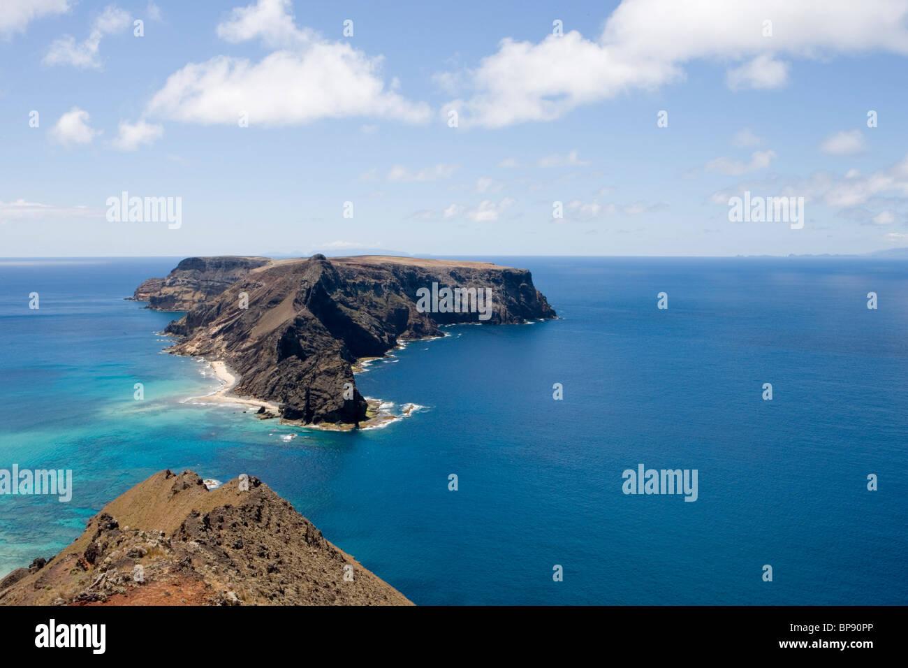 Ilheu de Baixo ou da Cal Island, Porto Santo, near Madeira, Portugal - Stock Image