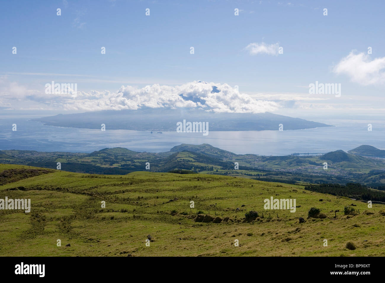 View from Reserva Natural da Caldeira do Faial with Pico Island in the distance, Faial Island, Azores, Portugal, - Stock Image