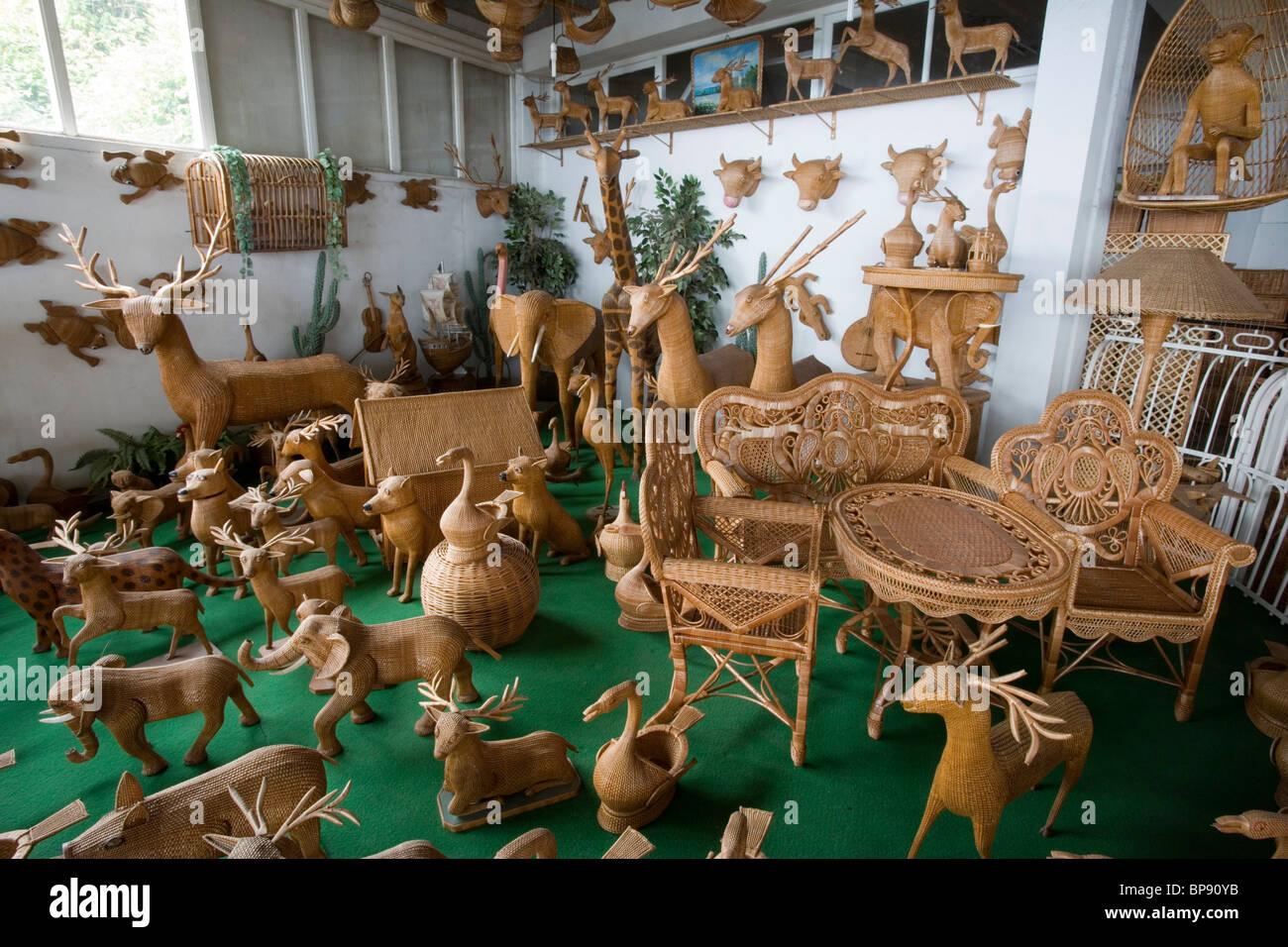 Handicrafts display at Cafe el Relogio Wicker Factory, Camacha, Madeira, Portugal - Stock Image