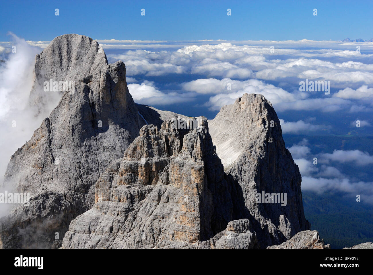Rosengartenspitze, Vajolet Towers and King Laurin mountain face, Rosengarten group, Dolomites, Trentino-Alto Adige/South - Stock Image