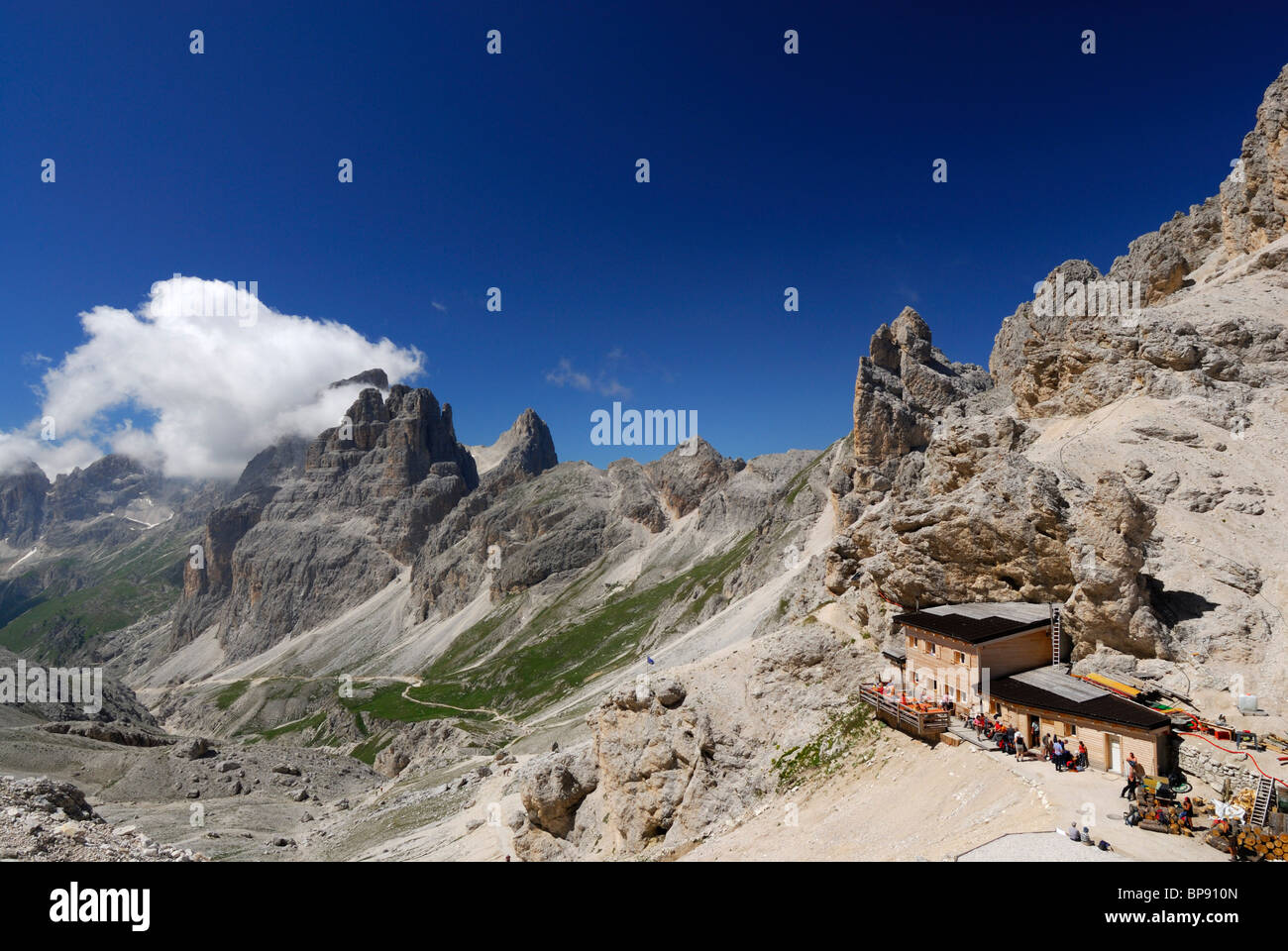 Grasleitenpass hut above Vajolet valley with Vajolet towers and king Laurin mountain face, Rosengarten group, Dolomites, - Stock Image