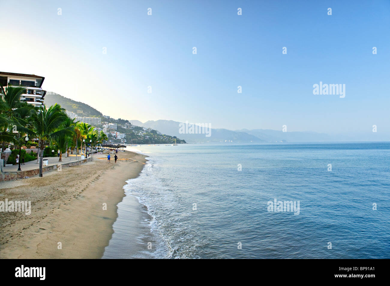 Beach and Malecon on Pacific Ocean in Puerto Vallarta, Mexico - Stock Image