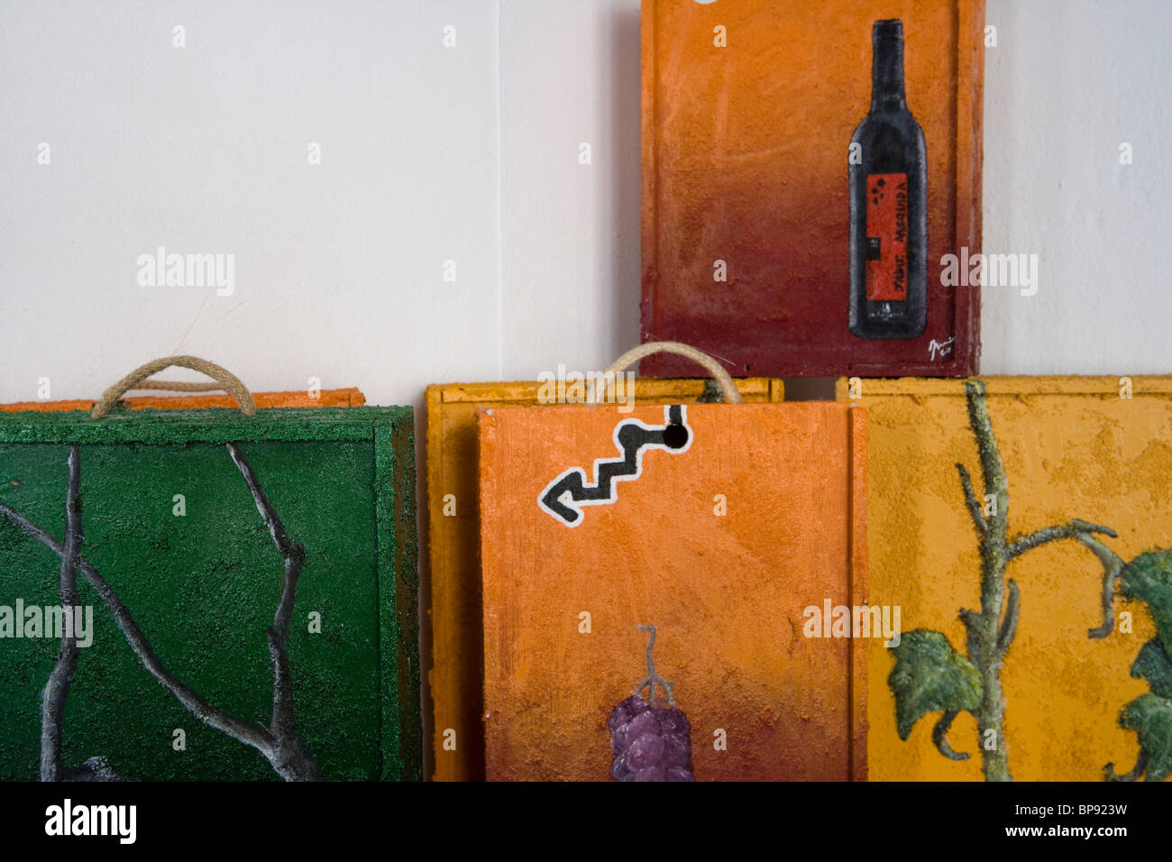 Artful wine boxes in Bodega Jaume Mesquida Winery, Porreres, Mallorca, Balearic Islands, Spain, Europe - Stock Image