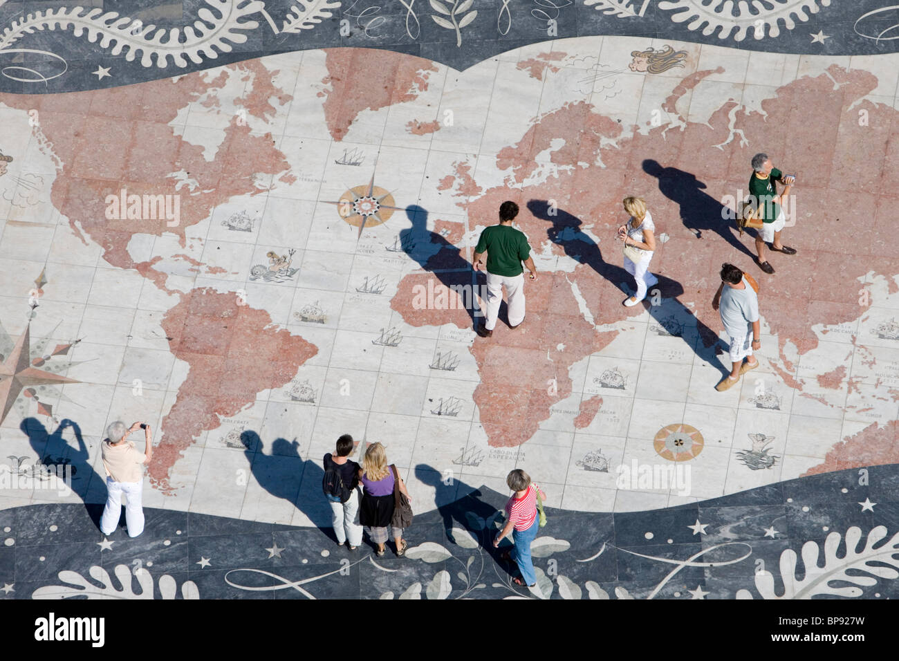 People on the World Mosaic Map, View from the top of the Discoveries Monument, Padrao dos Descobrimentos, Belem, - Stock Image