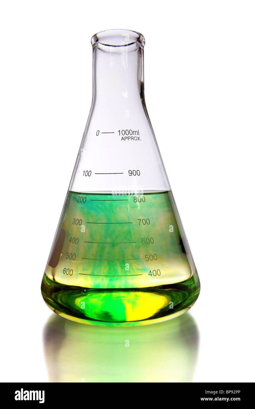 Laboratory flask with colorants in fluid over white background - With clipping path - Stock Image
