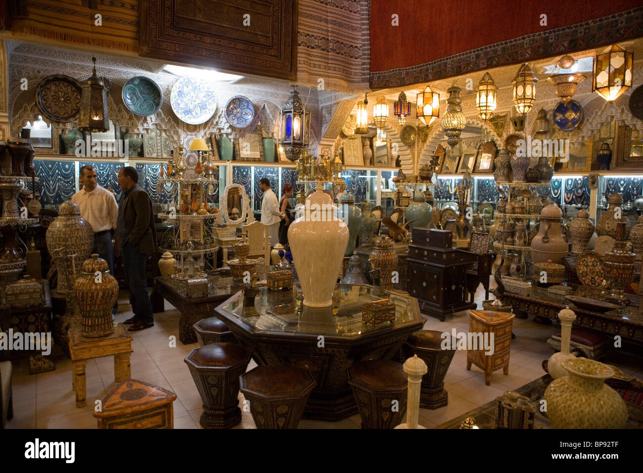 Vases and lamps for sale at Ensemble Artisanal Twizra Store, Marrakesh, Morocco, Africa - Stock Image