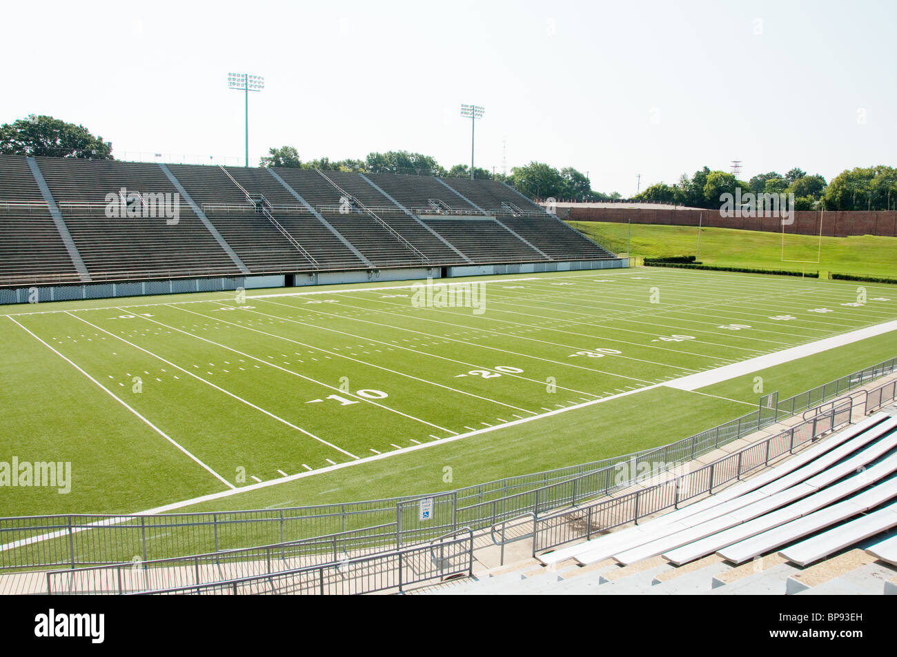 American football stadium with view of entire field. - Stock Image