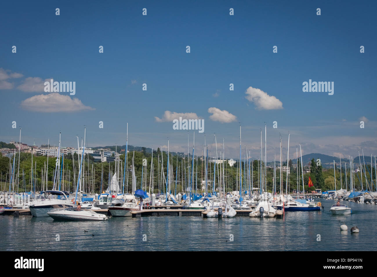 Lake Geneva marina - Vidy, Lausanne, Switzerland - Stock Image