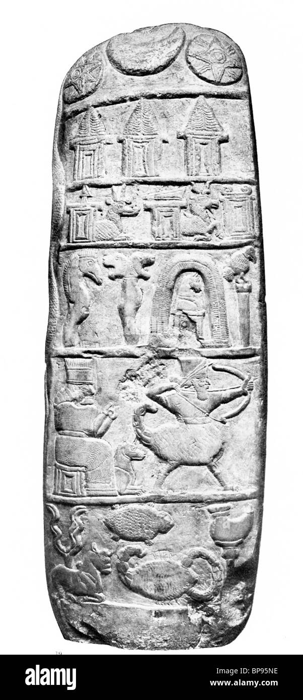 Boundary Stone of Ritti-Marduk with information about gods' symbols and zodiac in time of Babylon's Nebuchadnezzar - Stock Image