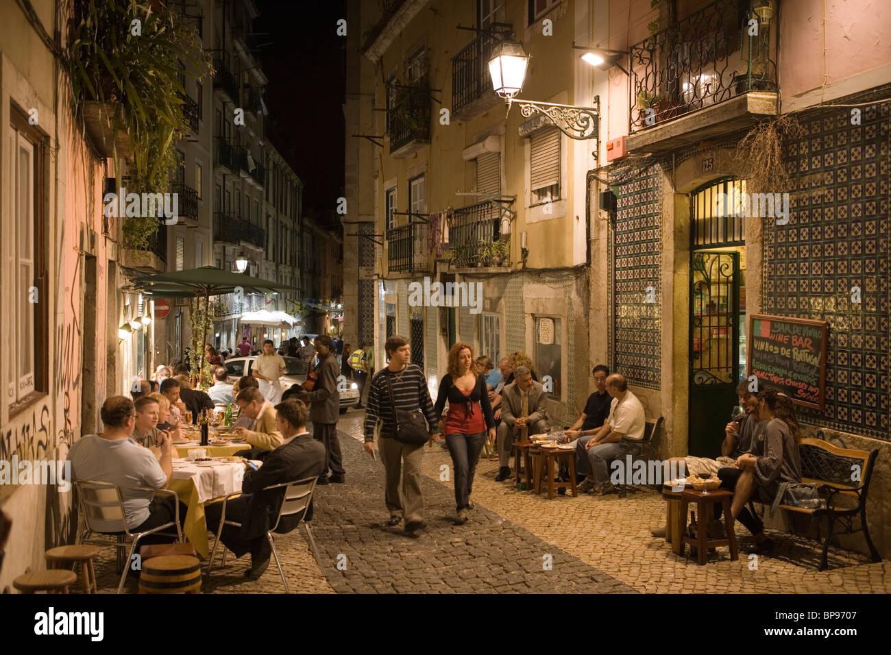 People outside the Alfaia Wine Bar in Bairro Alta District, Lisbon, Lisboa, Portugal, Europe - Stock Image