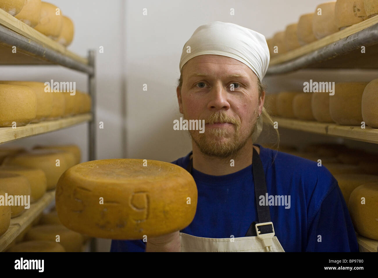 Olaf, cheese production, Adolphshof near Lehrte, Hannover, Lower Saxony, Germany - Stock Image