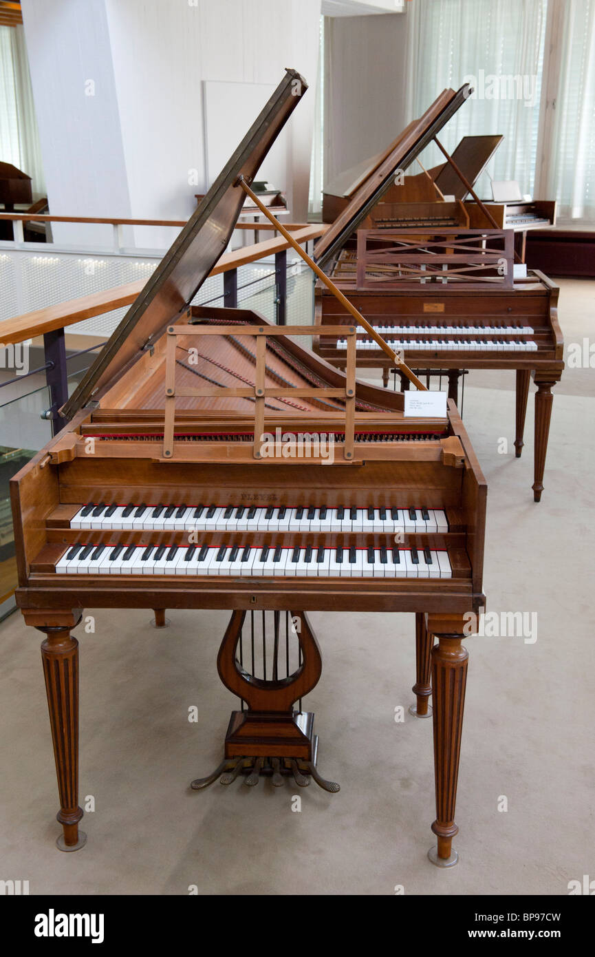 Old cembalos on display at Musikinstrumenten Museum or Museum of Musical Instruments in Mitte Berlin Germany - Stock Image