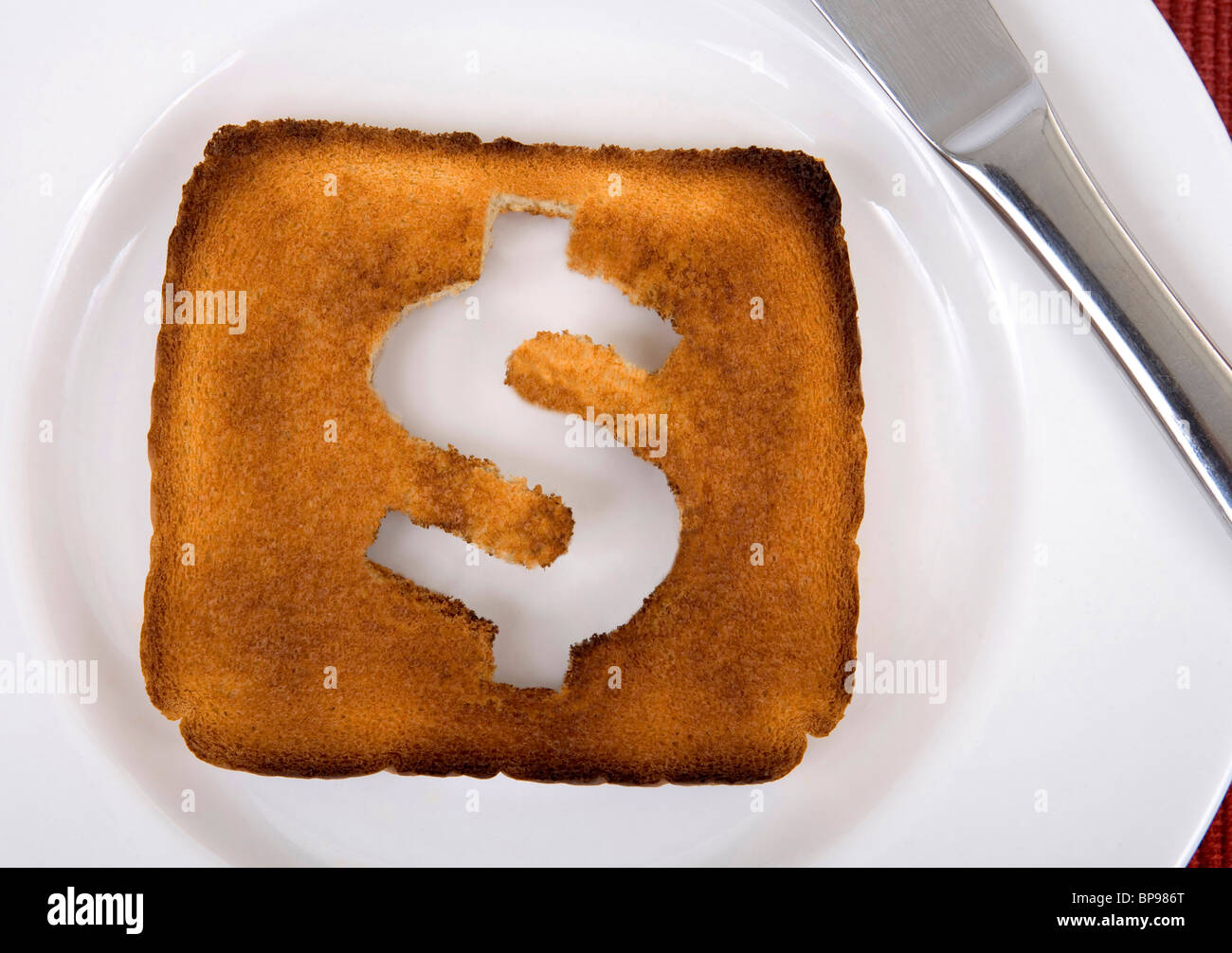 The dollar is toast metaphor image. - Stock Image