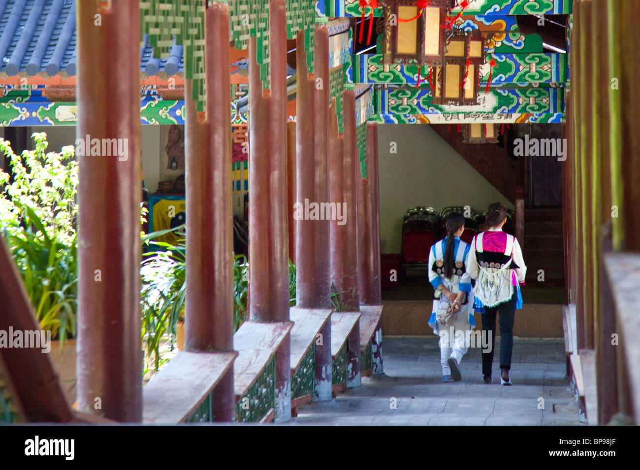Hallway in the Mu Family Mansion, old town, Lijiang, Yunnan Province, China - Stock Image