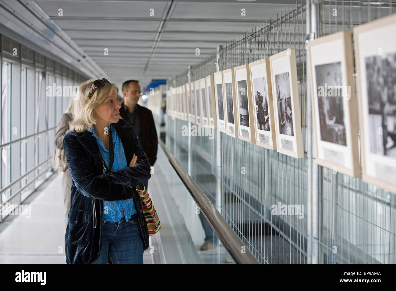 exhibition in the Skywalk at the Lumix Festival for Young Photojournalism in Hannover, University of Applied Sciences - Stock Image