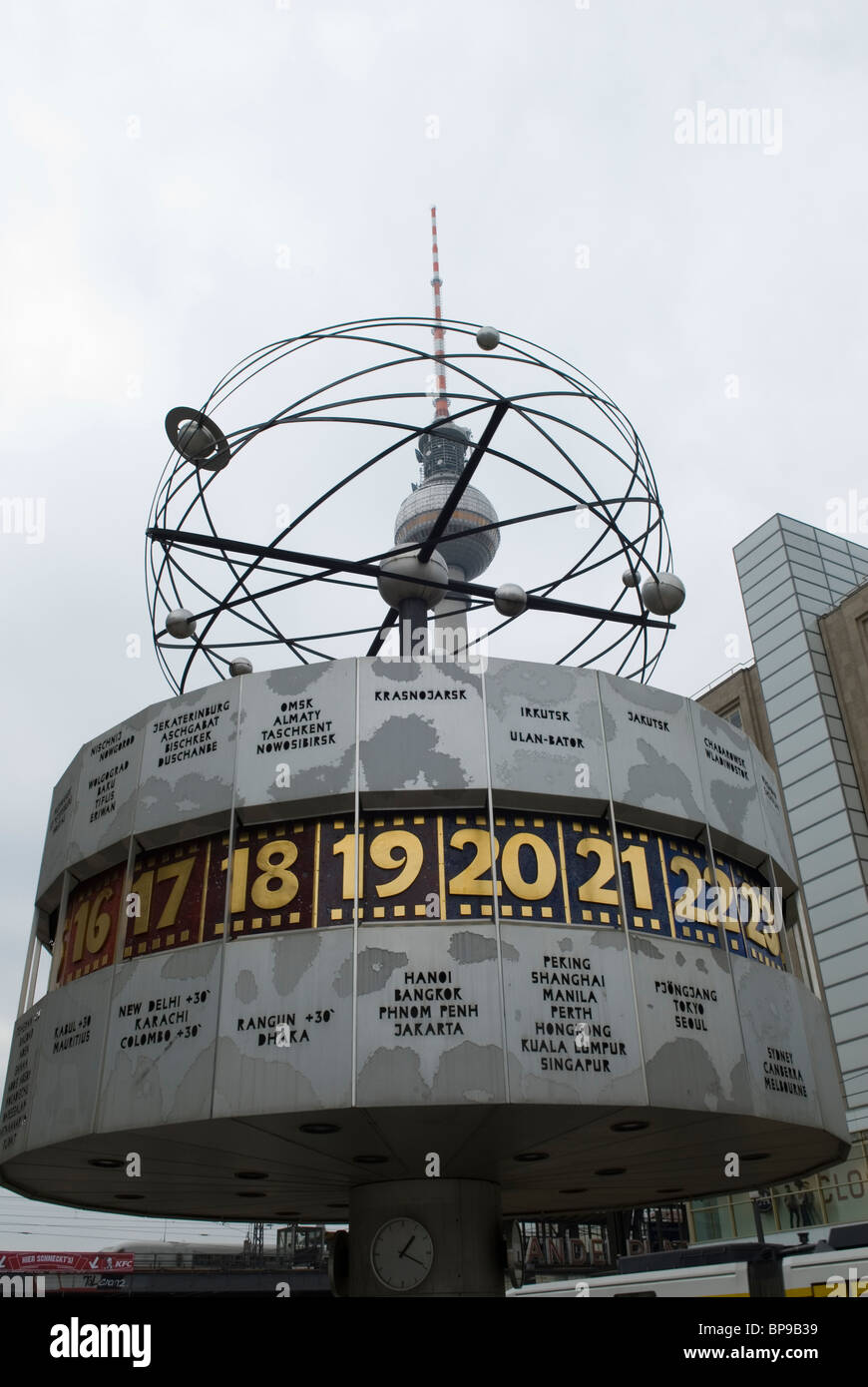 World time clock and tv tower Alexanderplatz Berlin city Germany Stock Photo