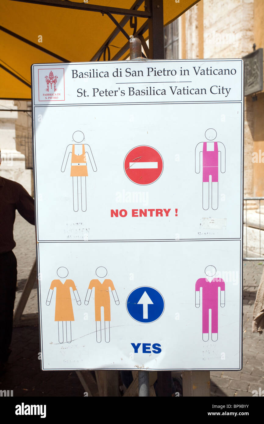A Sign With The Dress Code At St Peter S Basilica Vatican