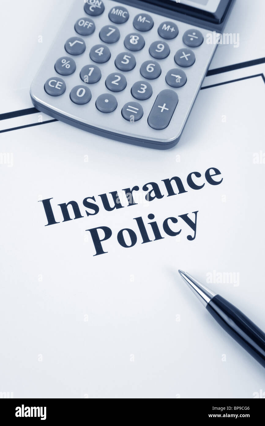 Document of Insurance Policy and calculator, for background - Stock Image