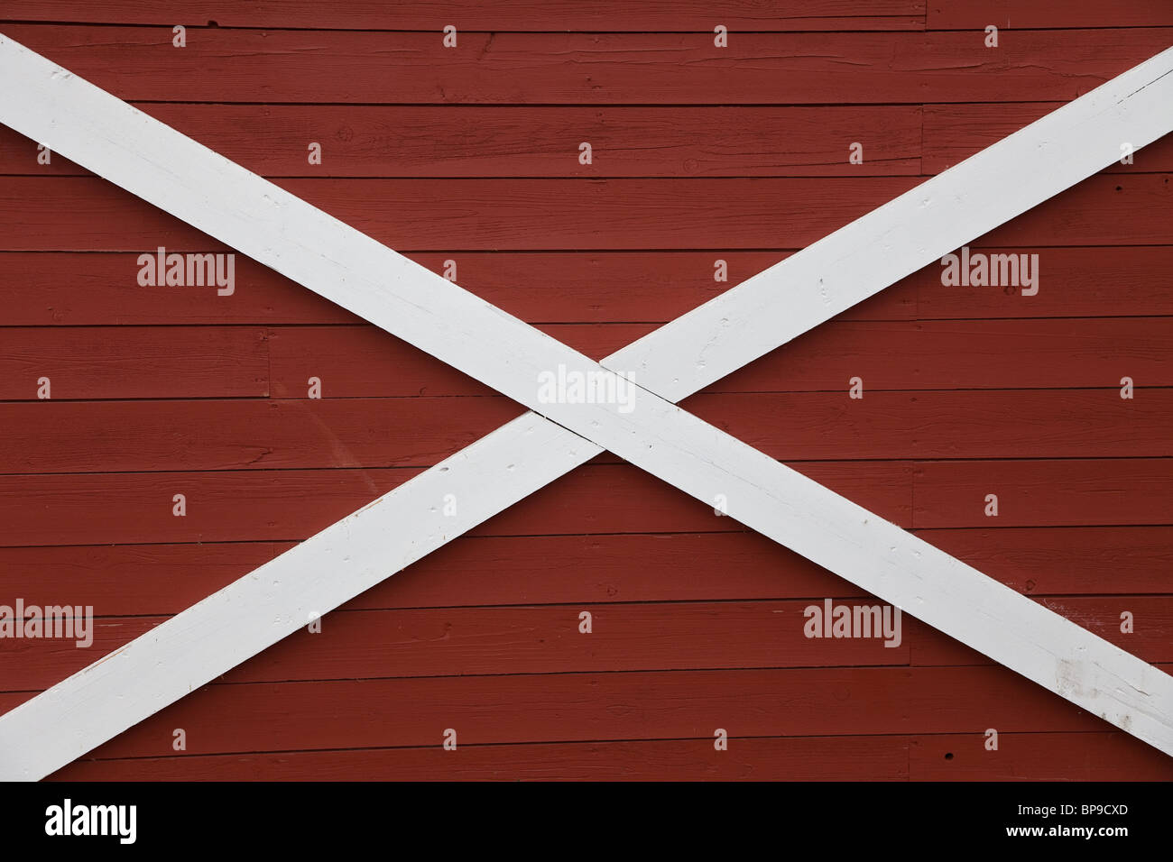 Barn Red Wood Wall for background - Stock Image