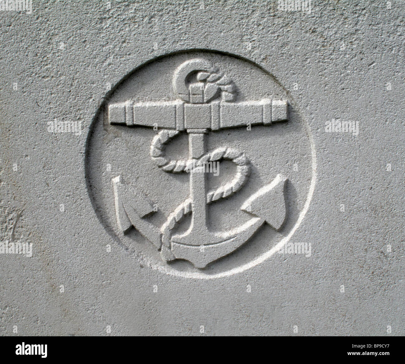 The Navy Symbol Of An Anchor On A Grave Stone Of A Naval Officer