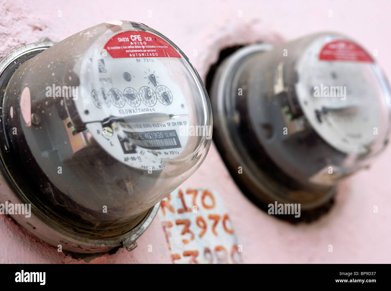 Electricity meter in San Cristobal de Las Casas in Chiapas in Mexico - Stock Image