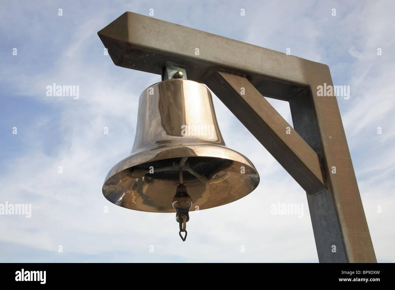 Ship's brass bell - Stock Image