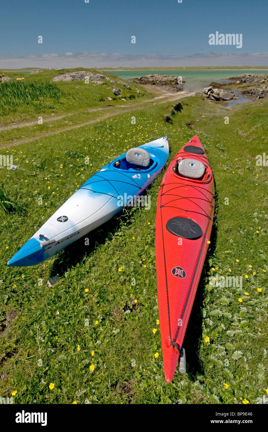 Ready for a day's paddling round the Isle of Berneray, Outer Hebrides, Western Isles. Scotland. SCO 6350 Stock Photo