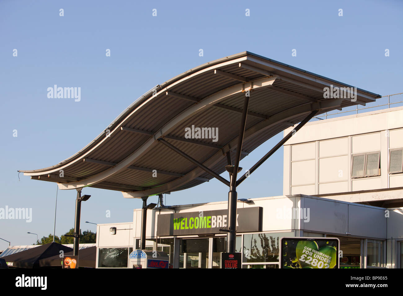 A welcome Break motorway service station on the M6 in Lancashire, UK. Stock Photo