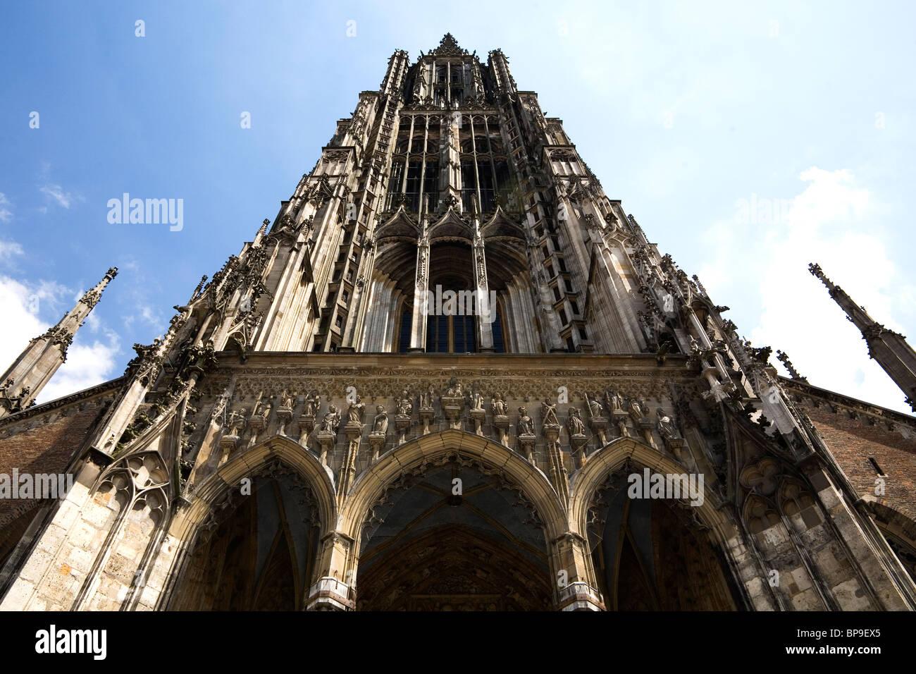 The steeple of Ulm Minster (Ulmer Muenster) in Ulm, Germany. Stock Photo