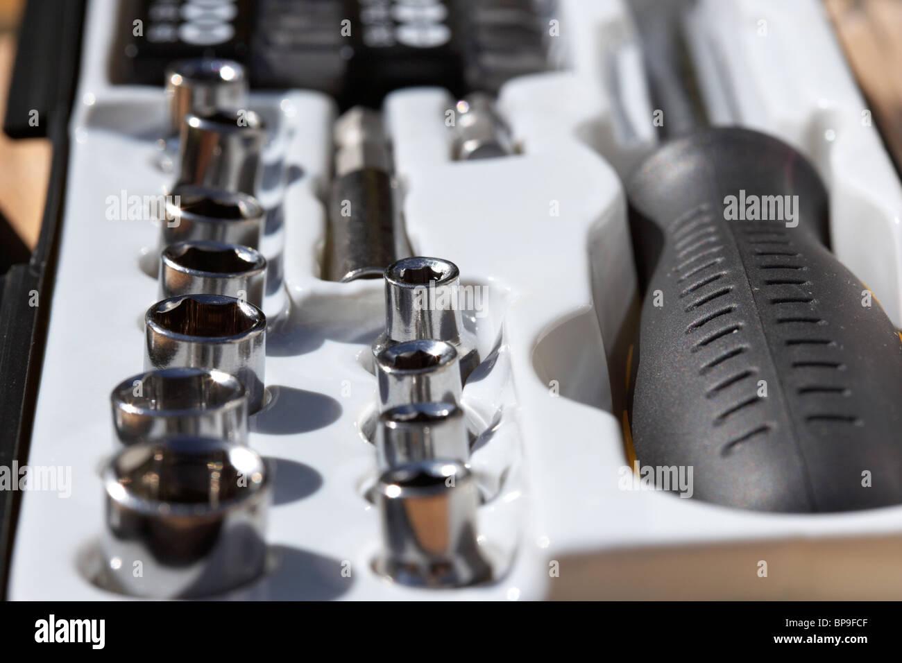 small diy household tool ratchet set sockets Stock Photo