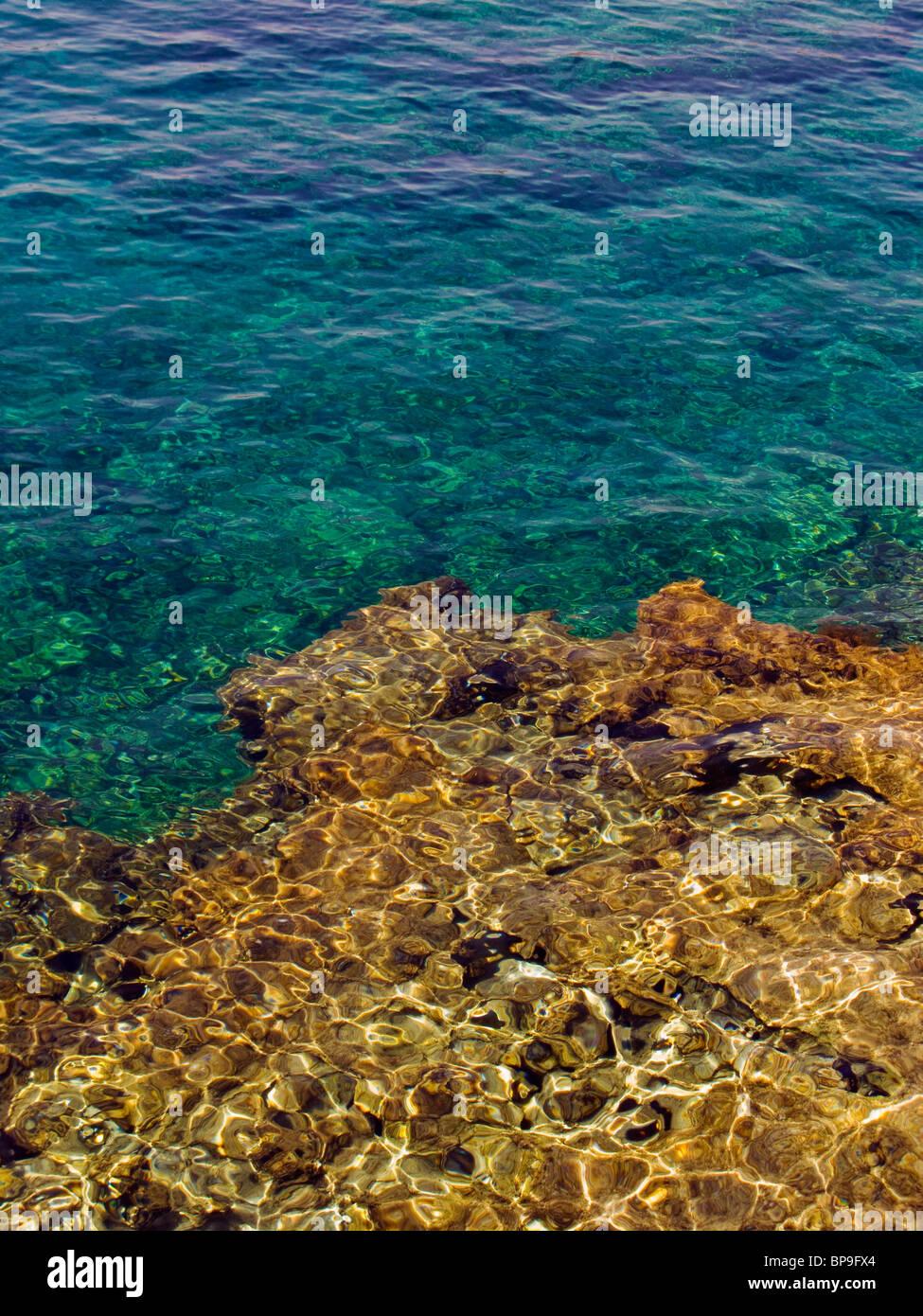 Rocks under water at Protaras, Cyprus, Europe. Stock Photo