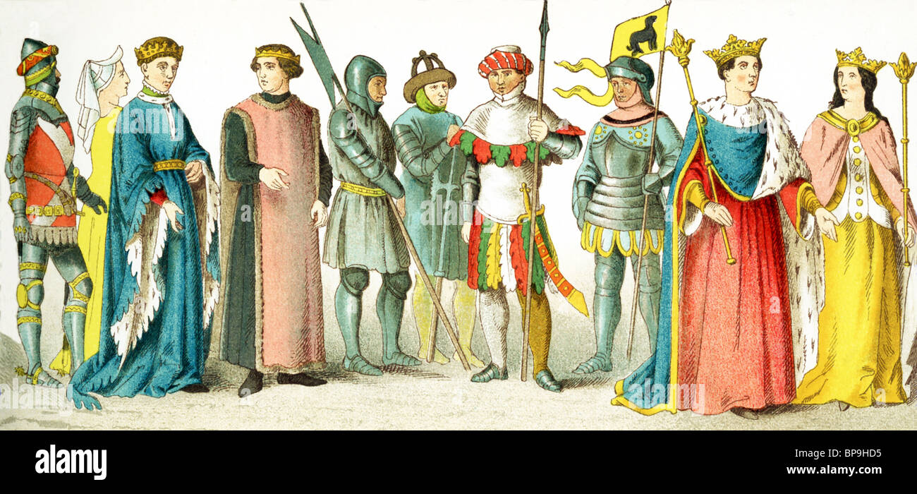 English people 1400-1450:  knight, lady of rank, Henry V, earl, three soldiers, knight, Henry VI, Margaret (his - Stock Image