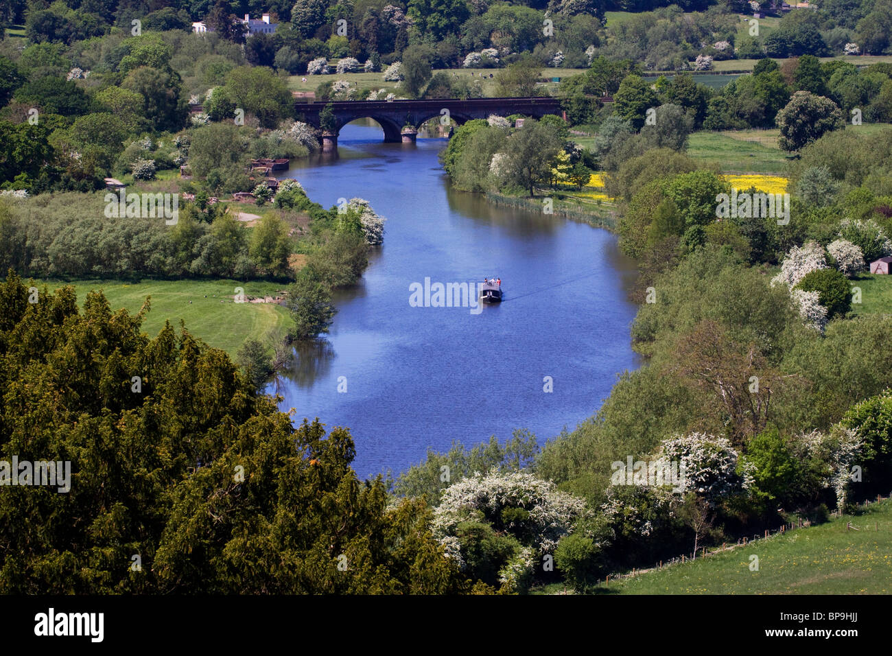 River Thames from Hartslock reserve Goring Oxfordshire - Stock Image