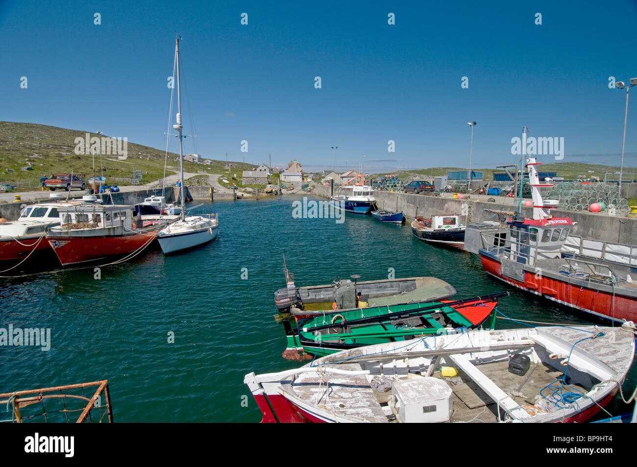 The harbour at Borgh on the Isle of Berneray, Outer Hebrides. Western Isles. Scotland.  SCO 6355 - Stock Image