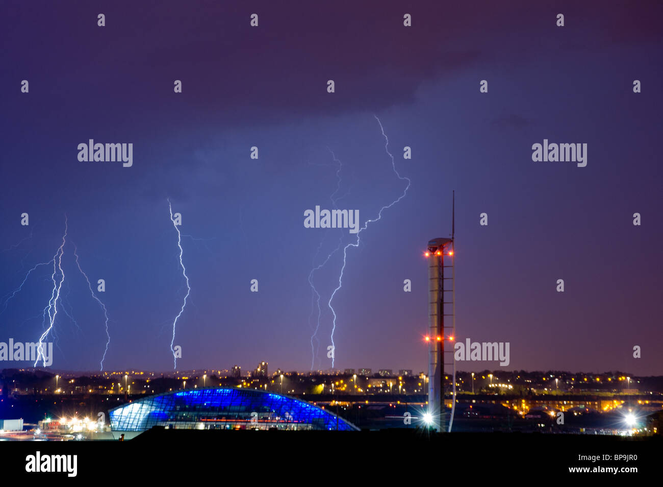 Lightning Storm City Stock Photos