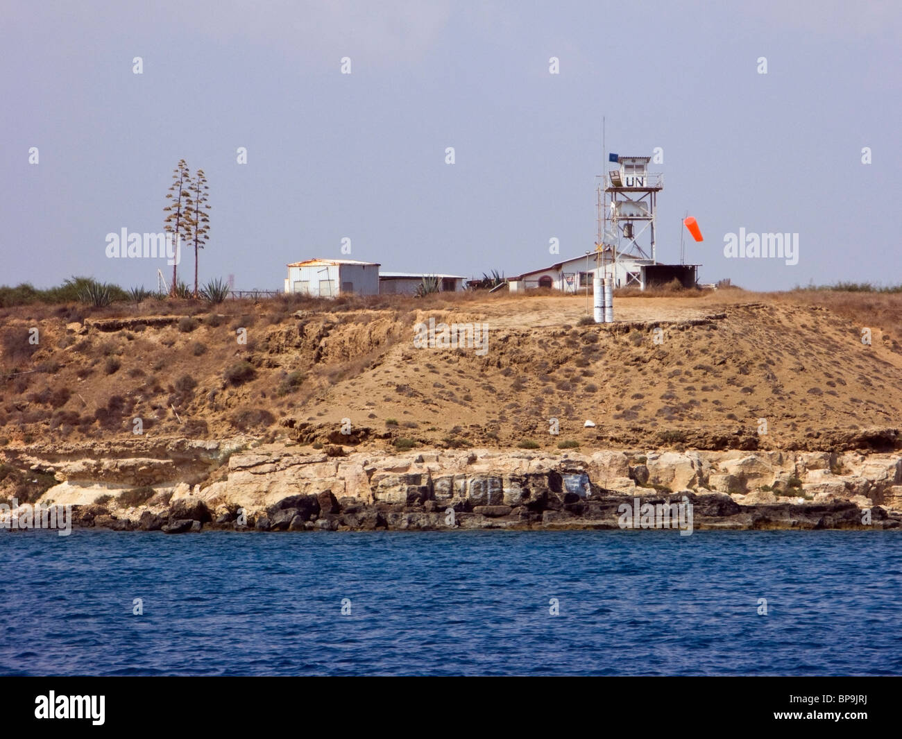 A United Nations watch tower near Famagusta, Cyprus. - Stock Image